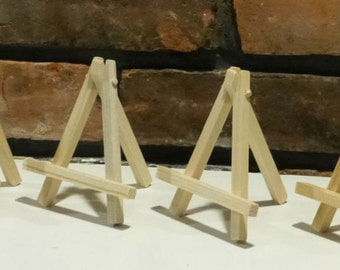 Small Wooden Easels - Natural Wood - ACEO, Mini Displays, Mini Paintings or Photo Display - Set of 10