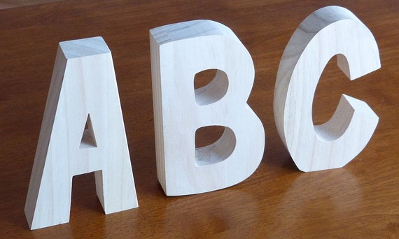 Free Standing Wooden Letter Unfinished Solid Wood By