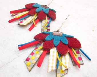 Leather earrings flower earrings vivid red blue yellow dangle earrings long floral drop earrings ribbons