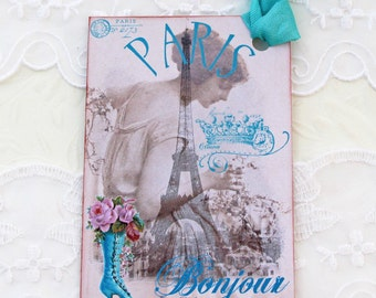 French Gift Tags,  Eiffel Tower Tags ,Hang Party Favor Tags, Birthday , Bonjour tags , Paris Mademoiselle , Bridal Shower, Turquoise Blue,