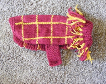 Knitted Maroon and Gold Plaid Dog Sweater