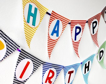 Instant Download Rainbow Chevron Zig Zag Birthday Banner Bunting Flags