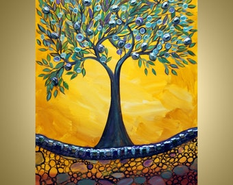 "Abstract Large Painting  40"" Original Collage Landscape Canvas OLIVE TREE made with green blue glass pieces"