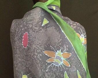 SILK SCARF. Shawl. Hand Painted. Original Art. Nature. Permanent Silk Dye. Oversized Scarf. Wearable Art. My Bonnie Designs. Ready To Ship
