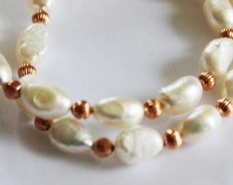 Fresh water pearl with copper beaded necklace