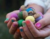 Needle Felted Acorns Wool in Assorted Colors of your choice Customize Rainbow - 15