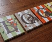 "8"" x 10"" Letter Name Owls Hedgehog Woodland Creatures Lambs & Ivy Echo Nursery Bedding Canvas Art Boys Girls Room Decor (price per letter)"