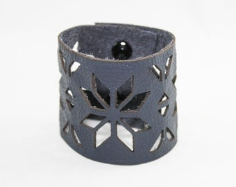 Leather Cuff Bracelet - Geometric Cutout Pattern (Navy Blue) - Size Medium