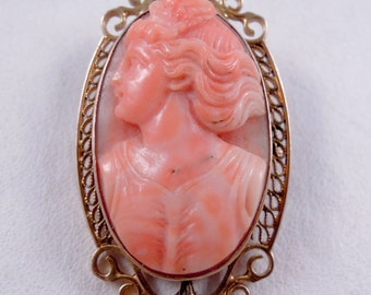Gorgeous Antique 10K Gold and Delicately Carved Coral Cameo Pendant Brooch