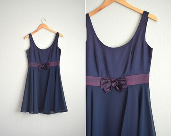 20 DOLLAR SALE! // Size S // SKATER Party Dress with Bow // Navy Blue - Scoop Neck - Sleeveless - Satin Bow - Vintage '90s.