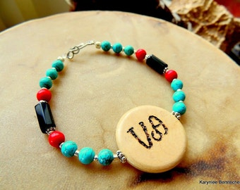 Cherokee Language Jewelry, Peace Jewelry, Turquoise Bracelet, Turquoise and Red, Native Style Jewelry, Tribal Jewelry, Handcrafted Jewelry