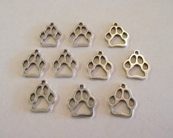 Large Paw Print Outline Charms- 10 charms- antique silver charms