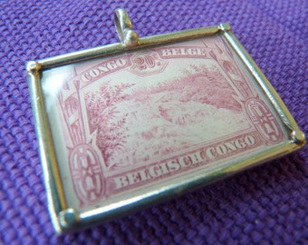 Vintage Stamp Pendant with Sterling Frame-Congo