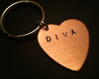 DIVA Keychain--Stamped Heart Keychain, HBIC, Copper Heart, Snob, Bitch, Copper Key Ring, Womens Keychain, Unisex, Metal Taboo