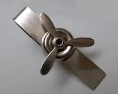 Spinning Airplane Propeller Tie Clip - Gift Box Included - Tie Bar - Men's Gift - Pilot - Aviator - Navy