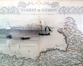 1858 Antique Map of Turkey in Europe - Illustrations and Hand-Coloured Outlines - John Tallis map - John Tallis - Turkey Antique Map