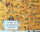 Vintage Map of Alberta, Canada - 1931 Illustrated Map - Wood Panel - Ready to Hang - Colourful and Humorous Map - Home Decor