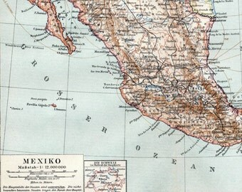 1895 Antique Map of Mexico