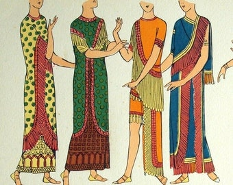 1925 French Art Deco Pochoir Print / Vintage Print on Assyrian Women's Fashions. Plate 4 - Handcolored - Vintage Fashion Print