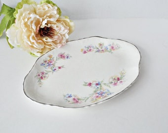 "Sweet 11"" Pink and Blue Floral Platter"