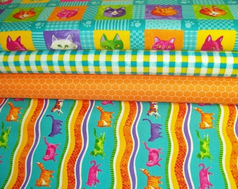 COUPON Code Sale - FAT QUARTER Bundle - Moda Fabric, Prisma Cats, 100% Cotton Quilt Fabric, Fat Qtr, Cat Fabric, Quilting Fabric (#102)