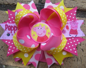 Peppa Pig Inspired Custom Boutique Hair Bow for Peppa Pig birthday party