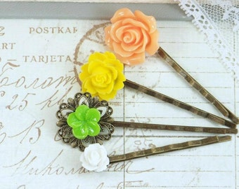 Bright Hair Pin Flower Hair Pins Bobby Pin Set Floral Hair Pins Hair Pin Set Floral Bobby Pins