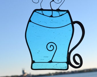 Cup of Jo  Stained Glass Suncatcher in  Blue