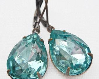 Aqua Blue Dangle Earrings Victorian Estate Style Jewelry  CAMBRIDGE Aqua
