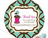 """Personalized Sewing Labels,  """"Thank You"""" stickers, Glossy, choice of sizes and shapes"""