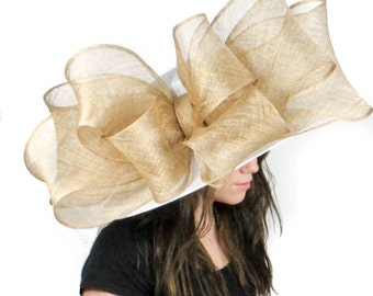 White and Gold Bow Hat for Weddings, Races, and Kentucky Derby (in 20 colours)