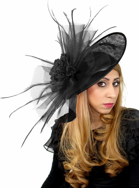 Black  Magdalena Fascinator Hat for Kentucky Derby, Weddings and Christmas Parties on a Headband in 25 colours
