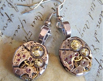 Bling Time  - Steampunk Earrings - Repurposed art