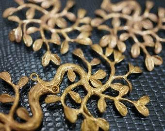 High Quality Solid Brass Tree Flower Branch Leaf Charm Pendants - 1 piece