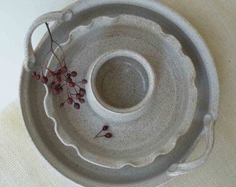 Unique Wedding Giftset of 3, Stoneware Dish, Brie Dish, Dip Cup, Speckled White, Birthday Gift, Entertaining Serving Set