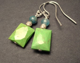 Gaspeite Earrrings -  Apatite Earrings - Lime Green Teal Blue Earrings - Dangle Earrings - Natural Stone Jewelry