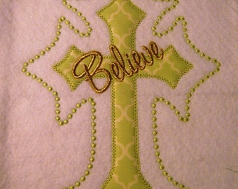 Believe Applique and Candlewick Cross 5x7 and 6x10