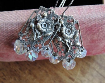 Antique Assemblage Crystal Dangle Earrings