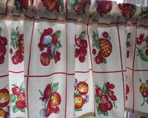 retro kitchen curtain valance new fabric 48 x 13 fruit. Black Bedroom Furniture Sets. Home Design Ideas
