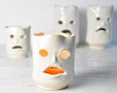 "Ghost luminary candle holder ceramic art vessel 2 3/4"" H"