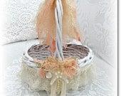 Shabby Chic Seaside Flowergirl Basket - Beach Wedding Accessory