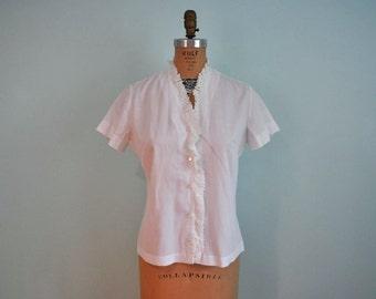 1950s blouse vintage 50s white eyelet detail top M