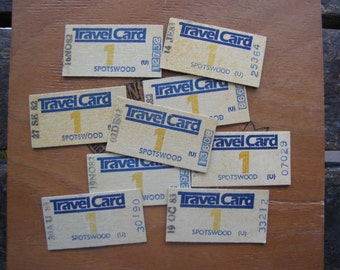 9  x Vintage Melbourne Train Tickets Travel Card Australia for Altered Arts Mixed Media Collage (B)