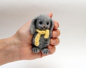 """Cute Little  Bunny 3,2"""", Needle Felted Soft Sculpture Miniature, Christmas gift, gray, yellow"""