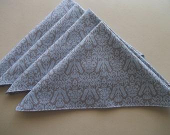 Blue Floral Damask Cotton Napkin Set of 8