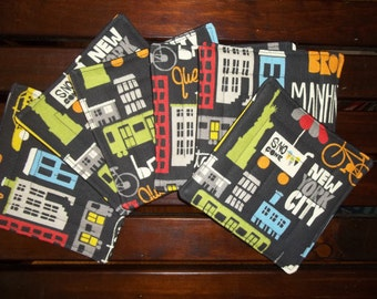 Fabric Coasters Set of 6 New York City Colorful Iconic NYC