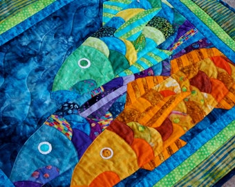 Wall Art Quilt Wall Hanging Tropical Fish Beach House Applique OOAK Handmade Blue Orange Green Original Design