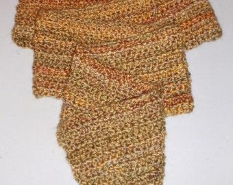 SUMMER SALE - Crochet Man's Scarf - Men's Yellow Scarf, Men's Apparel, Clothing Accessory, Yellow Scarf - Lion's Brand Yarn in BOURBON
