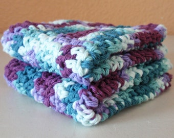 SUMMER SALE - Crochet Washcloths - Purple & Blue Scrubbie Cloths, Eco Friendly Cleaning Cloth, Handmade Washcloth, SET of 2 100% Cotton