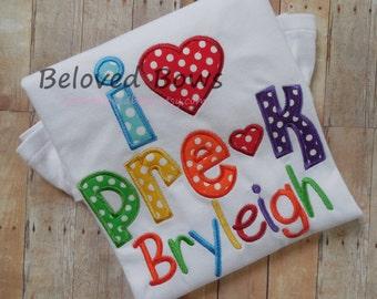 I Heart PreSchool Ruffle Shirt-Back to School-First Day of School